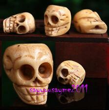 Vintage 4 pcs Hand carved Yak Bone Skull Pendant Bead Prayer Mala 19x20mm