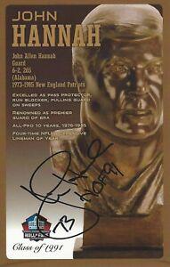 John Hannah New England Patriots  Football Hall Of Fame Autographed Bust Card