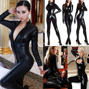 Ladies Wetlook Vinyl PVC catsuit bodysuit Jumpsuit clubwear Zipper Front Costume