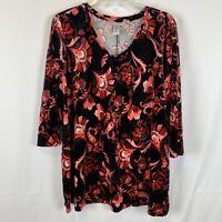 NWT Catherines 1X Top Velour Floral Print Black Pink 3/4 Sleeve Career V-Neck