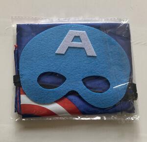 Captain America Boys Mask & Cape Fancy Dress Set Age 3-8 Years