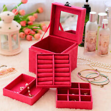 Square Jewelry Storage Organizer Box Display Case For Ring Necklace Earring Gift