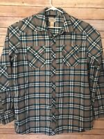 LL Bean Plaid Flannel Overland Performance Shirt Full Snap Long Sleeve Size XL