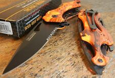 TAC-FORCE Spring Assisted Opening ORANGE CAMO Bottle Opener Glass Breaker Knife