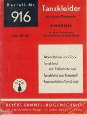 Tanzkleider für 92 cm Oberweite Schnittmuster für 4 Modelle Beyer 916 um 1946