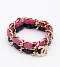 Chanel Classic Gold Chain Jersey Bracelet Denim Pink