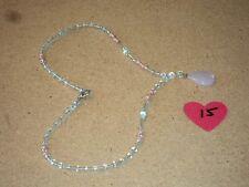 "Beautiful Pink Rose Quartz Crystal Healing Pendant Necklace 18"" #15 NEW"