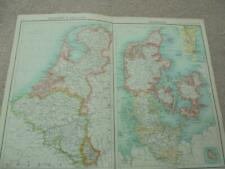 MAP c1900 HOLLAND BELGIUM DENMARK BARTHOLOMEW ATLAS COLOUR LITHOGRAPH