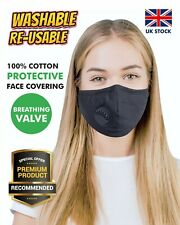 100% Cotton Breathable Valve Face Mask Protection Washable Reusable Respirator