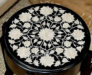 14 Inches Marble Coffee Table Top Shiny Gemstone Inlaid Work Sofa Side Table