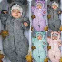 Winter Newborn Baby Boys girls Fleece Jumpsuit Hooded Romper Warm Coat Outwear