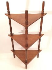 "Vintage 19.25"" Reversible Wood Hanging/Standing 3 Tier Corner Spindle Wall Shelf"