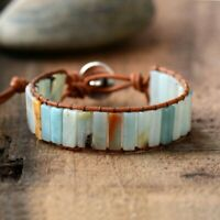 Charm Natural stone Leather Bracelet Bangle Bead Handmade Bohemia Precious Women