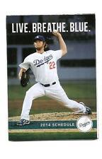 Los Angeles Dodgers MLB Mini Pocket Schedule 2014 Clayton Kershaw