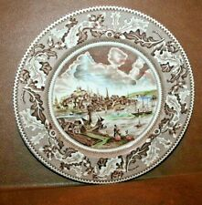 2x Johnson Bros Historic America View Boston Dinner Plate Brown w Hints of Color
