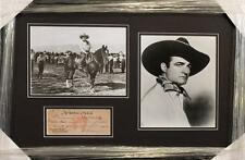 Tom Mix Rare Handwritten and Signed Bank Check in Custom Display - PSA/DNA
