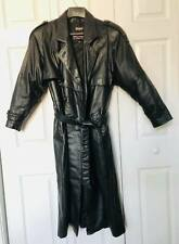 Women's WILSON Long Black Leather Trench Coat Thinsulate Zip Out Liner MEDIUM