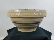 Early Robinson Ransbottom Brown Blue Band Small 5 Inch Mixing Bowl Ornate Detail