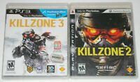 PS3 Video Game Lot - Killzone 2 (Used, scratched) Killzone 3 (Used)
