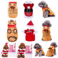 Cute Reindeer Santa Pet Dog Clothes Puppy Hoodie Coat Christmas Costume Apparel