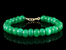 150.00 CTS EARTH MINED RICH GREEN EMERALD ROUND SHAPE BEADS HAND MADE BRACELET