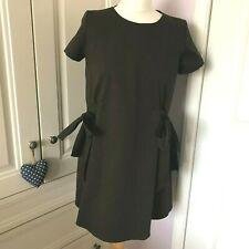 Zara Trafaluc Dark Olive Khaki Boxy Mini Tunic Dress Large Tie Up Sides XS UK 6