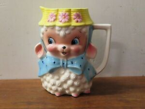 Vintage Brinnco LAMB in BOW and BONNET Water Pitcher KITCHY MCM Lefton NAPCO