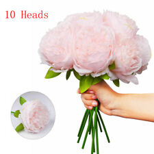 10 Heads Pink Pack Silk Flowers Bouquet Peony Fake Flowers Wedding Home Decor