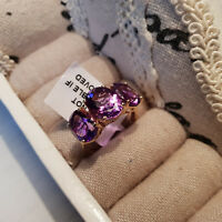 Beautiful 7.8ct Moroccan Amethyst Trilogy Ring in 14k Gold over Sterling Silver