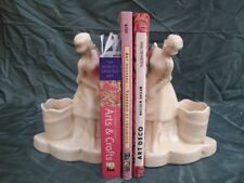 Bookends Figurine Carrier French Style Porcelain Crackleware Ceramic