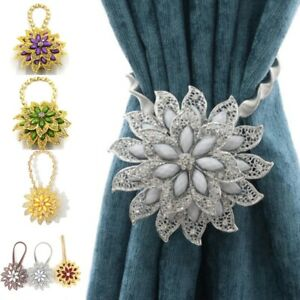 Curtain Tie back with Magnetic Disk Flower Rhinestone Stretchable Strap Decor