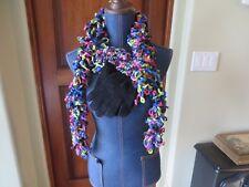 Women's Black Chenille Scarf & Glove Set Loopy Trim Purple Green Blue Pink NWOT