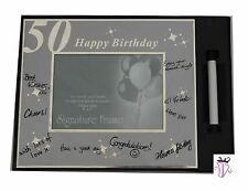 50th Birthday Guest Sign it Silver 4 x 6 in  Photo Frame & Pen Gift Present
