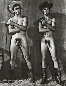 1955 BRUCE BELLAS Of Los Angeles Nude Male Western Cowboys Photo Engraving 11X14
