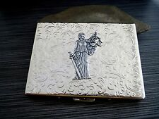 Handmade Antique Silver Embossed Steampunk Lady Justice Cigarette Case - Lawyer