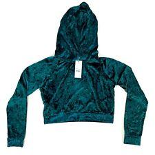 Emma & Sam Crop Top Hoodie Size S Green Crushed Velvet Pullover ES-1046-5