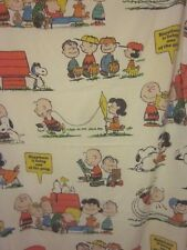 1971 Charlie Brown Snoopy Peanuts Single Flat Twin Sheet Fabric Happiness Is Vtg