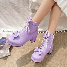 Ladies Lace Up Lolita Cute Bows Ankle Boots Casual Chunky Block Heels Shoes Size