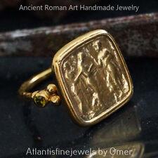 Handmade Ancient Art Peridot Coin Ring By Omer 24k Gold Vermeil 925 k Silver