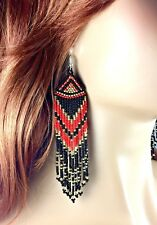 NEW NATIVE STYLE SEED BEADED HANDMADE LONG FASHION HOOK EARRINGS E58/23