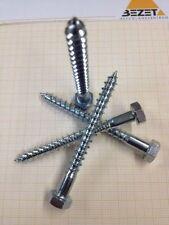 200x Schlüsselschrauben DIN 571  6 x 60 Stahl verzinkt Sechskant  Holzschrauben