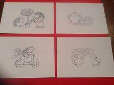 8 x LOVE / VALENTINE Penny Black stamped images **FREE POSTAGE**