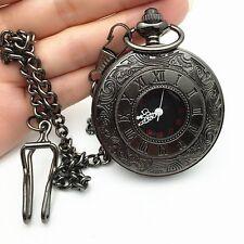 Fashion Vintage Antique Steampunk Black Quartz Necklace Pendant Pocket Watch