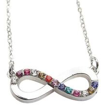 Collier, pendentif infini infinity style one direction Pierres multicolores.