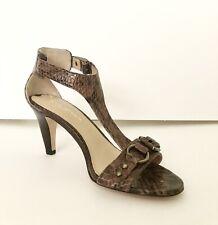 898ec481b5b8 Via Spiga Womens Brown Leather Snake Print T Strap Sandals Size 6 M