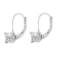 14K WHITE GOLD FN STERLING SILVER DIAMOND PRINCESS CUT LEVERBACK EARRINGS 5MM