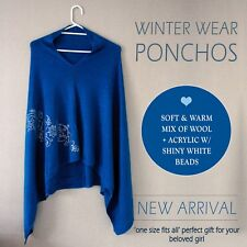 50% WOOL & 50% ACRYLIC PARTY DESIGNER BLUE PONCHOS FORMAL WINTER WEAR SWEATER