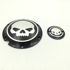 Black Skull Engine Derby Timer Cover For Harley Sportster XL 883 1200 Iron 48 72