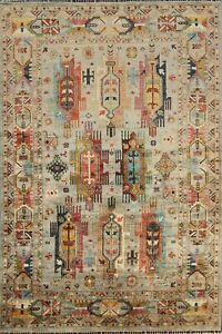 Tribal Geometric Vegetable Dye Ziegler Oriental Area Rug Hand-knotted Wool 6'x8'