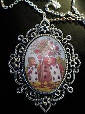 Alice in Wonderland CARDS ROSES  Antique Silver Pendant Brooch Necklace Tenniel